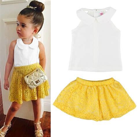 2PCS Toddler Kids Baby Girl Tank Top T-shirt+Lace Skirt Dress Outfit Clothes Set | eBay