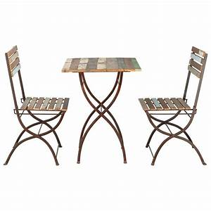 Recycled wood and metal garden table + 2 chairs in