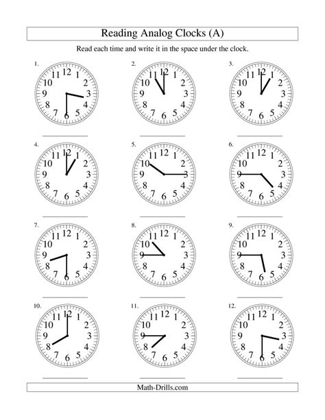 reading time on an analog clock in 15 minute intervals a