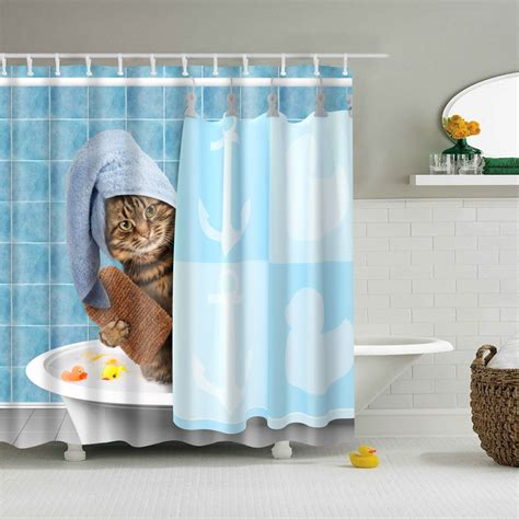 Creative Bath Shower Curtains by Luxurysmart Cat In The Bath Shower Curtains Custom Design