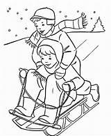 Coloring Winter Sledding Cartoon sketch template