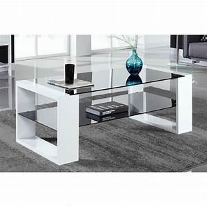 VERA Table Basse 120x60cm Laqu Noir Et Blanc Achat