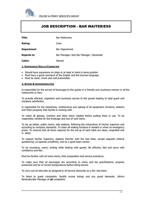 Resume My Duties by Hostess Description For Resume Slebusinessresume