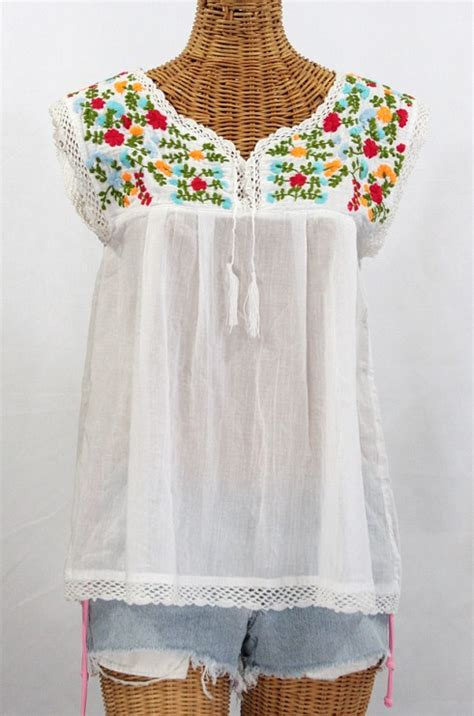 embroidered peasant blouse quot la marbrisa quot embroidered sleeveless peasant