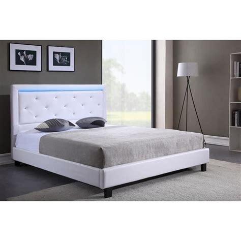 tete de lit led filip lit adulte contemporain simili blanc sommier et t 234 te de lit avec led inclus l 160 x l