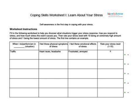 coping skills worksheets  adults coping skills