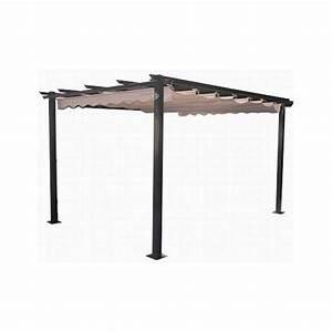 Pergola Toit Coulissant : plicosa m279707 pergola en aluminium avec toit coulissant cru 3x4 m ~ Melissatoandfro.com Idées de Décoration
