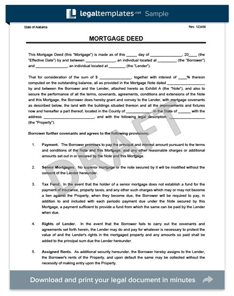 Trust Agreement Template Uk by Create A Free Mortgage Deed Download Print Legal