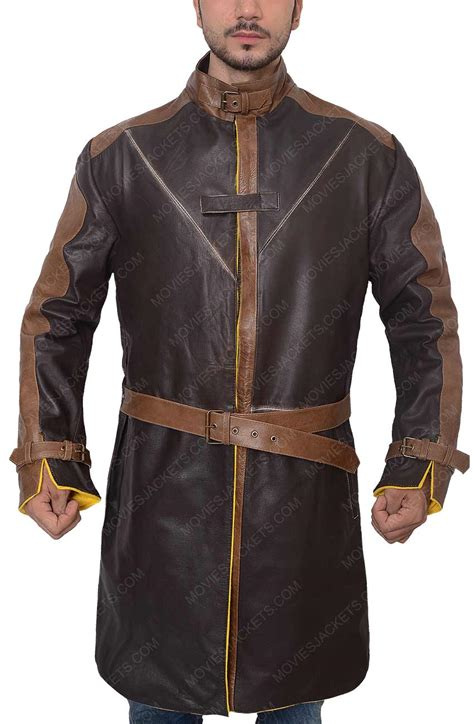 aiden pearce jacket brown distressed trench coat movies jacket