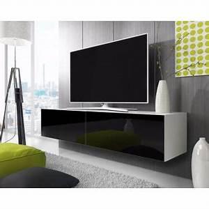Meuble Tv Blanc Suspendu : point meuble tv suspendu 200 cm blanc mat noir brillant achat prix fnac ~ Dode.kayakingforconservation.com Idées de Décoration