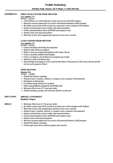 mentor resume sle mentor resume sle part time sales