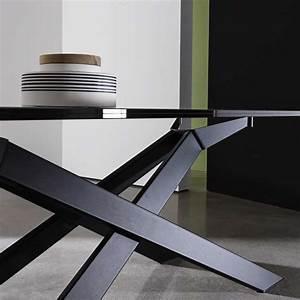 Pied De Table Metal Design : table de salle manger design en verre et m tal cross ~ Melissatoandfro.com Idées de Décoration