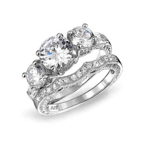 925 sterling cz three stone wedding engagement ring vintage