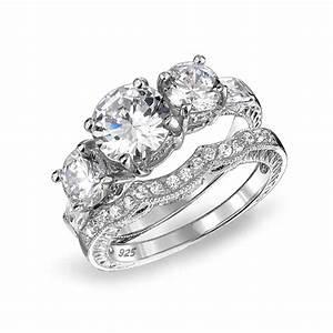 925 Sterling CZ Three Stone Wedding Engagement Ring Set