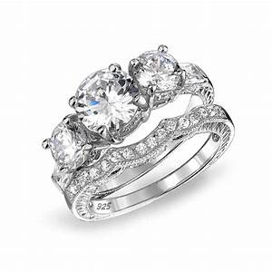 925 sterling cz three stone wedding engagement ring set for Wedding band for three stone ring