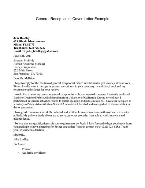 Cover Letter For A Resume Template by Receptionist Cover Letter Exle Http Jobresumesle