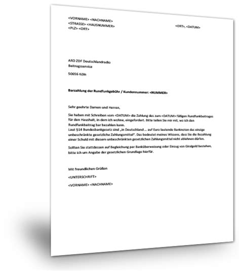 musterbrief barzahlung gez musterix