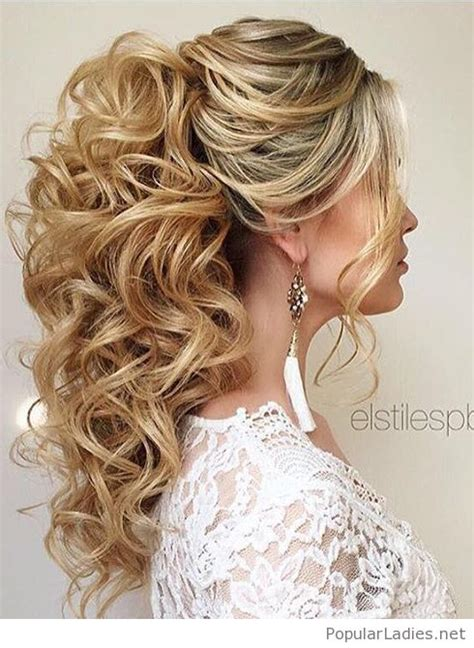 high curly ponytail wedding hair