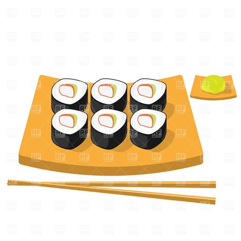 free clipart downloads chopsticks wasabi and roll sushi vector image 1477