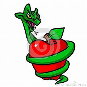 Forbidden Fruit Apple Snakes Cartoon Illustration Stock ...