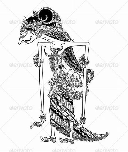 Kulit Shadow Wayang Puppet Template Puppets Indonesia