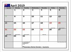Calendar April 2019, Australia Michel Zbinden en