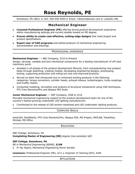 Engineer Resume Format by Sle Resume For A Midlevel Mechanical Engineer