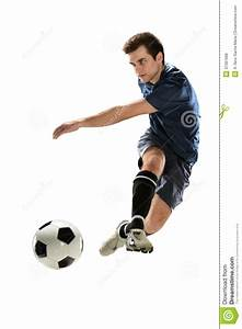 Soccer Player Kicking Ball stock photo. Image of jumping ...