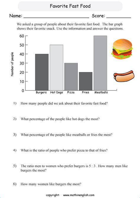 fast food bar graph printable grade  math worksheet