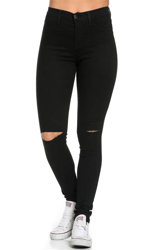 High Waisted Knee Slit Skinny Jeans Black Soho Girl