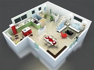plan maison bel etage en 3d modele kea cuisine ouverte With plan maison r 1 100m2 9 plan maison 3d dappartement 2 piaces en 60 exemples