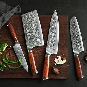 Damascus, Kitchen, Knife, Set, -, 4, Knives, Xinzuo, Yu, With, Rosewood, Handle