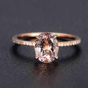 morganite diamond engagement ring 14k rose goldoval cut With rose gold morganite wedding rings
