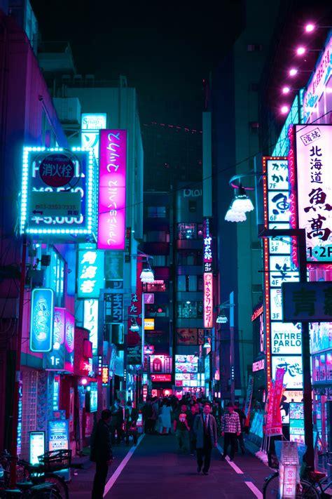 cyberpunk city night photography city