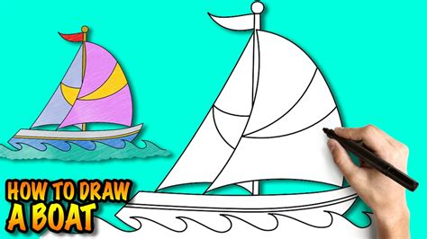 Boat Cartoon Easy To Draw by How To Draw A Boat Easy Step By Step Drawing Tuturial