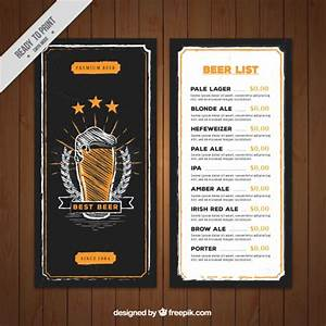 Hand drawn beer menu template in retro style Vector Free Download