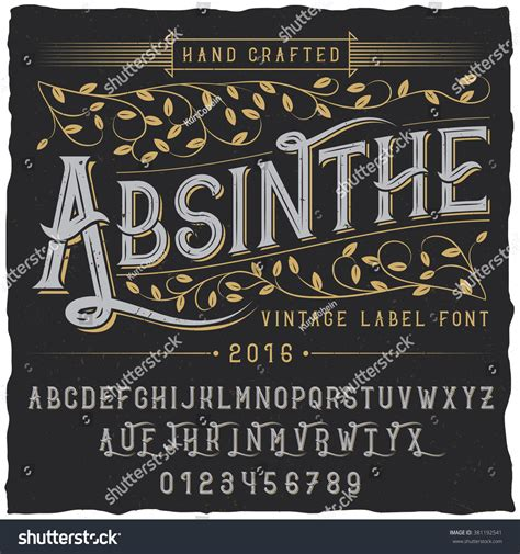 Font Decoration Absinthe Label Font And Sle Label Design With