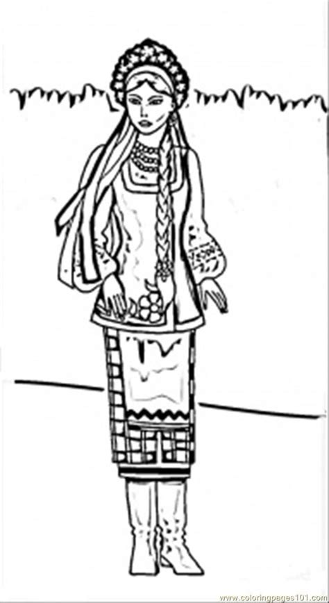 printable coloring page ukrainian woman countries