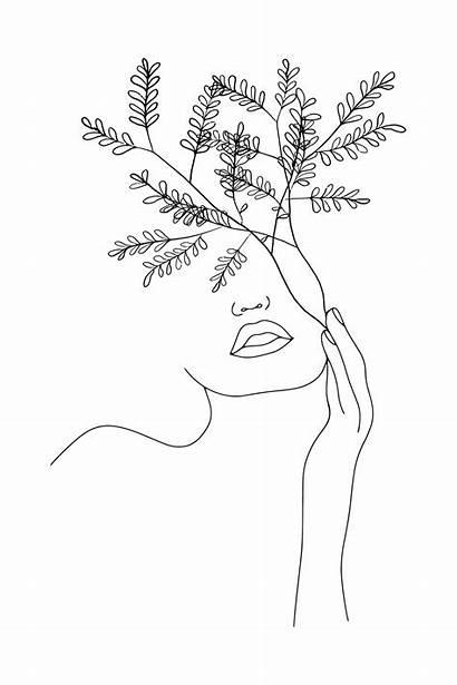 Line Minimal Woman Flower Drawing Drawings Flowers