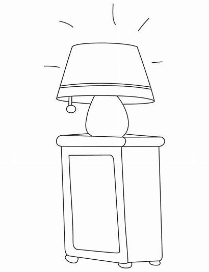 Lamp Table Coloring Pages Colouring Desk Template