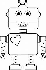 Robot Coloring Heart Pages Printable Para Cartoon Categories Clipartmag sketch template