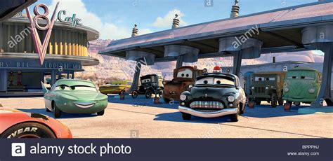 cars sarge and fillmore flo mater sherrif sarge fillmore cars 2006 stock photo