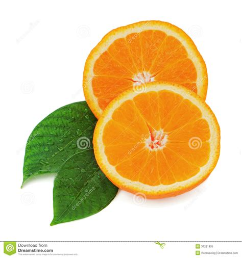 Fresh Orange Fruit With Green Leaves Isolated White