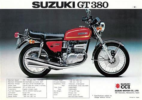 suzuki gt 380 suzuki gt380 brochures adverts
