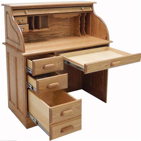 wooden roll top desk 42 quot w solid oak single pedestal roll top desk