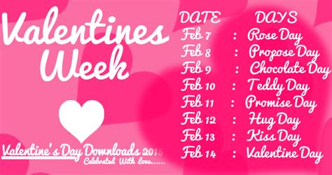 happy valentines day  week list schedule timetable