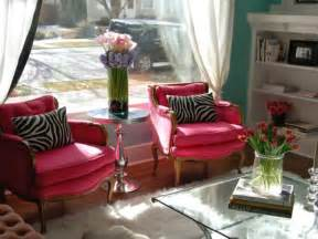 pink chairs eclectic living room nest