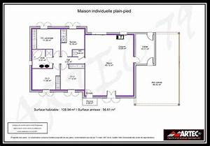 plan maison plain pied 4 chambres 100m2 With plan maison plain pied 100m2 3 chambres