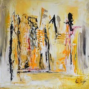 Peinture En Noir Et Blanc : tableau peinture jaune gris noir ~ Melissatoandfro.com Idées de Décoration
