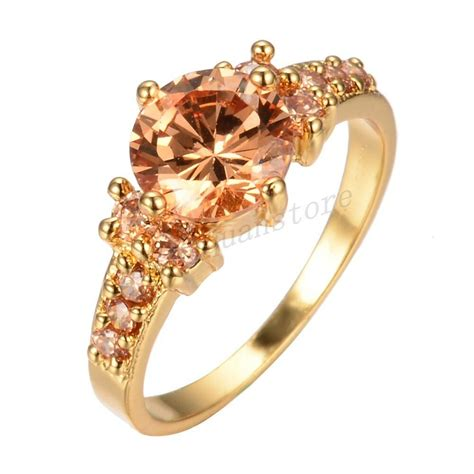 sz 6 10 chagne topaz cz engagement ring 10kt yellow gold filled wedding band ebay